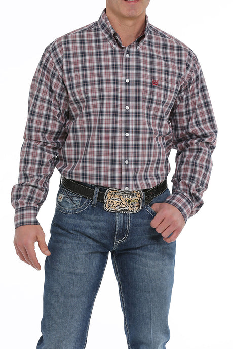 'Cinch' MTW1104913 - L/S Plaid Button Down - Burgundy / Grey