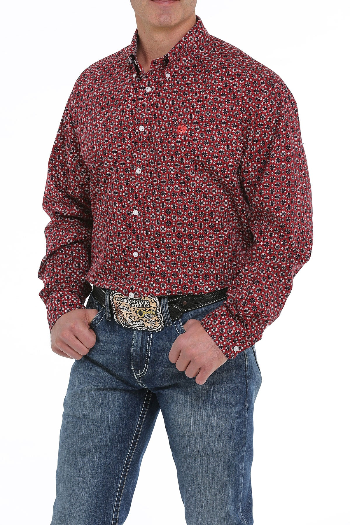 'Cinch' MTW1104918 - L/S Geo Print Button Down - Burgundy