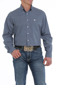 'Cinch' MTW1104924 - L/S Geo Print Button Down - Blue