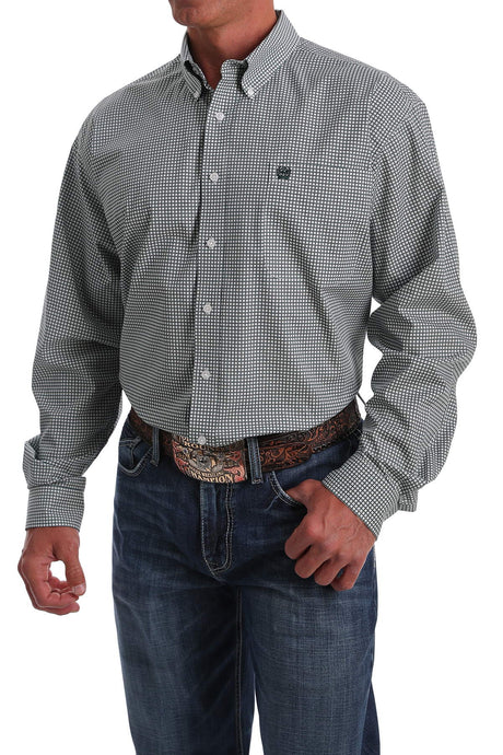 'Cinch' Men's Western Geometric Print Button Front - Mint / Green