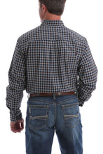 'Cinch' Men's Western Plaid Button Down - Navy / Brown