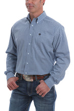 'Cinch' Men's Western Dot Print Button Down - Blue / White