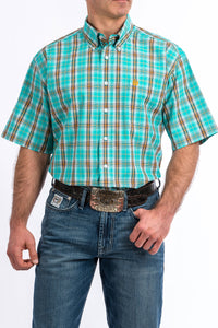 'Cinch' MTW1111290 -  SS Button Down Shirt - Turquoise / Orange Plaid