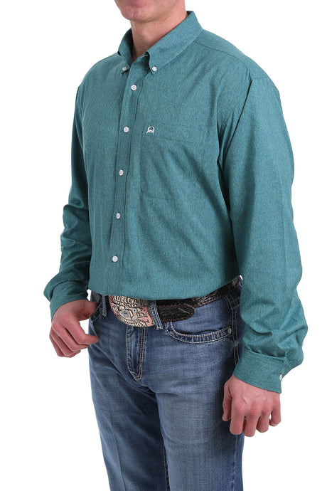 'Cinch' Men's Western Solid Pattern Button Front - Green