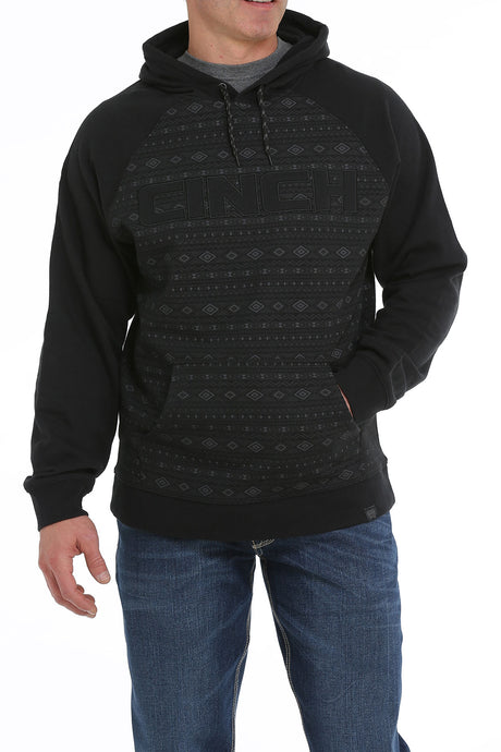 'Cinch' MWK1217006 - Aztec Print Pullover Fleece Hoodie - Black