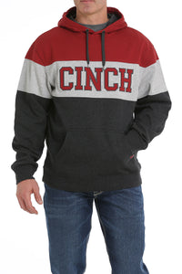 'Cinch' MWK1224001 - Color Blocked Pullover Hoodie - Charcoal / Grey / Brick Red
