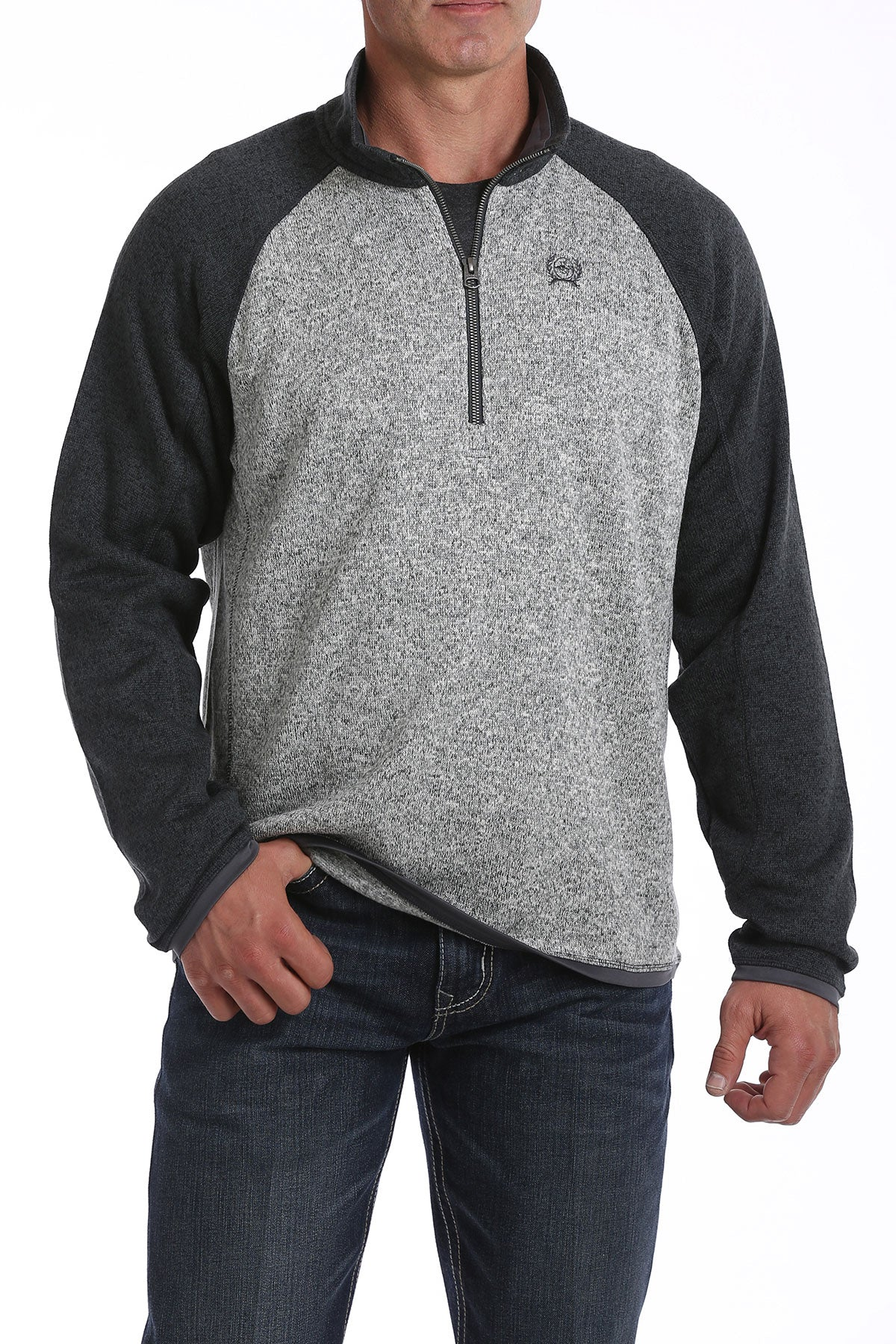 'Cinch' MWK1513001 - 1/4 Zip Sweater Knit Fleece Pullover - Grey
