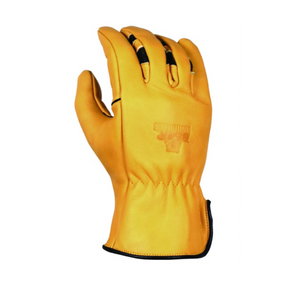 'Bear Knuckles' Double Wedge™ Fleece-Lined Water Resistant Cowhide Driver Glove - Yellow