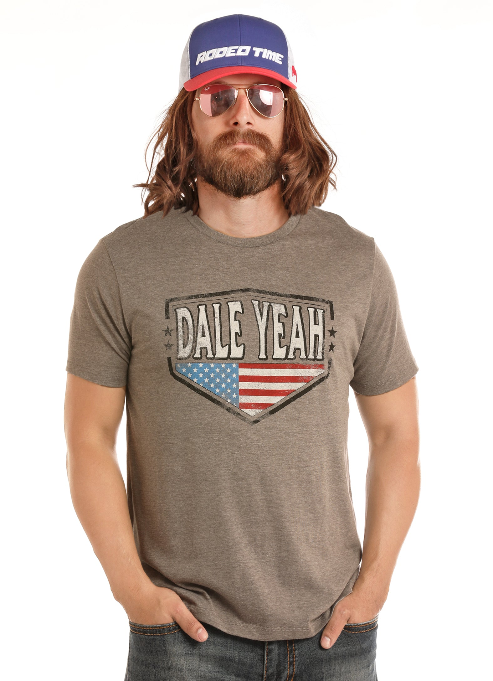 'Rock & Roll' P9-1099 - Dale Brisby Flag T-shirt - Gray