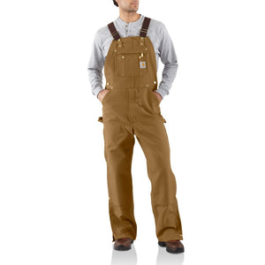 'Carhartt' Men's Unlined Duck Zip To Thigh Bib Overall - Carhartt Brown
