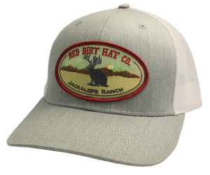 'Red Dirt Hat' Jackalope Ranch Patch Hat - Heather Grey / White