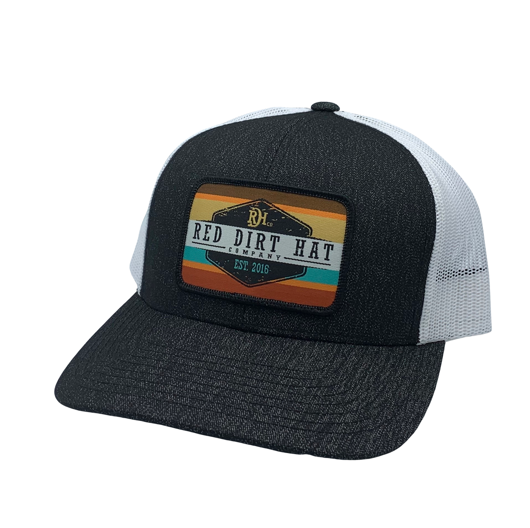 'Red Dirt Hat' Army Sunset Patch Hat - Heather Black / White