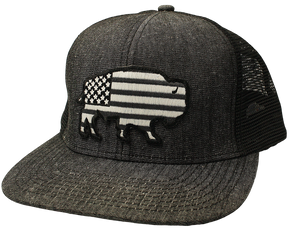 'Red Dirt Hat' Buffalo Flag Patch Hat - Black Denim