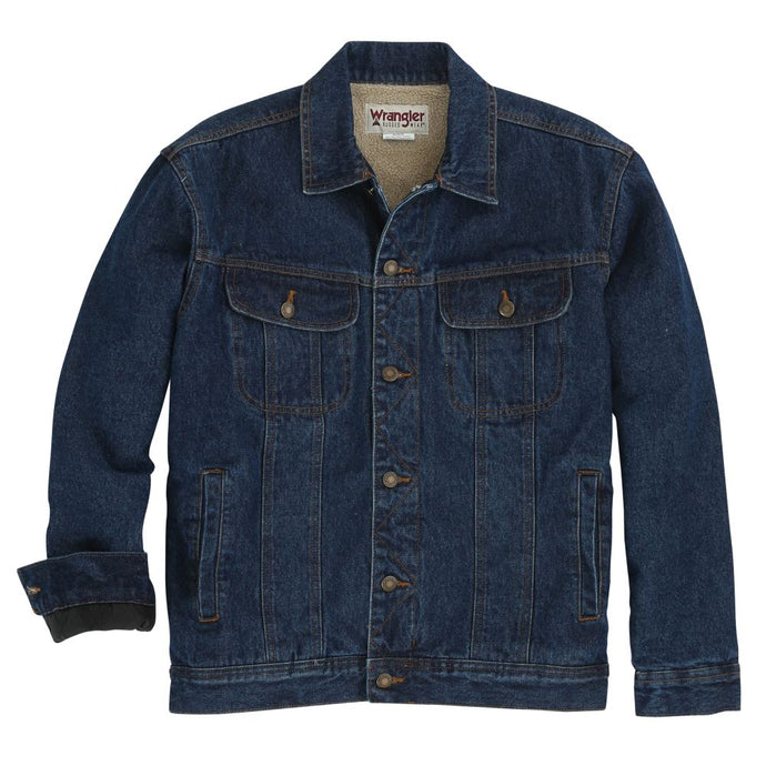 'Wrangler' Men's Sherpa Lined Denim Jacket - Blue Denim
