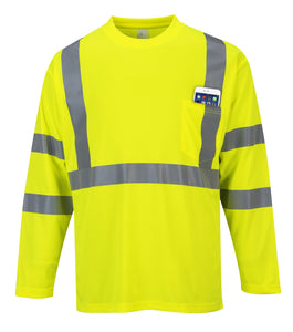 'Port West' Hi-Vis Reflective L/S Pocket Tee - Yellow