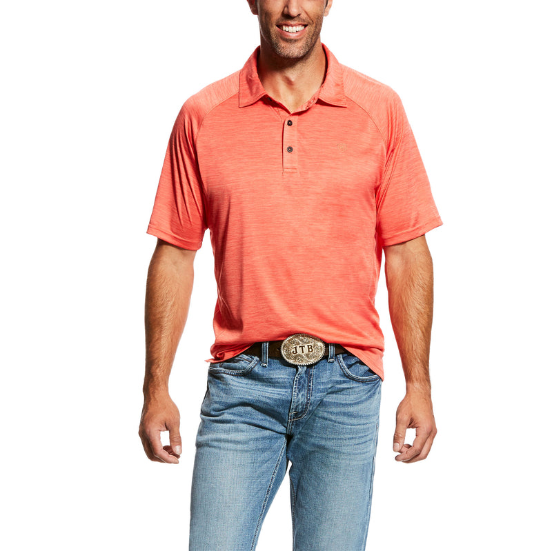 'Ariat' 10026473 - Charger SS Polo Shirt - Coral Fan