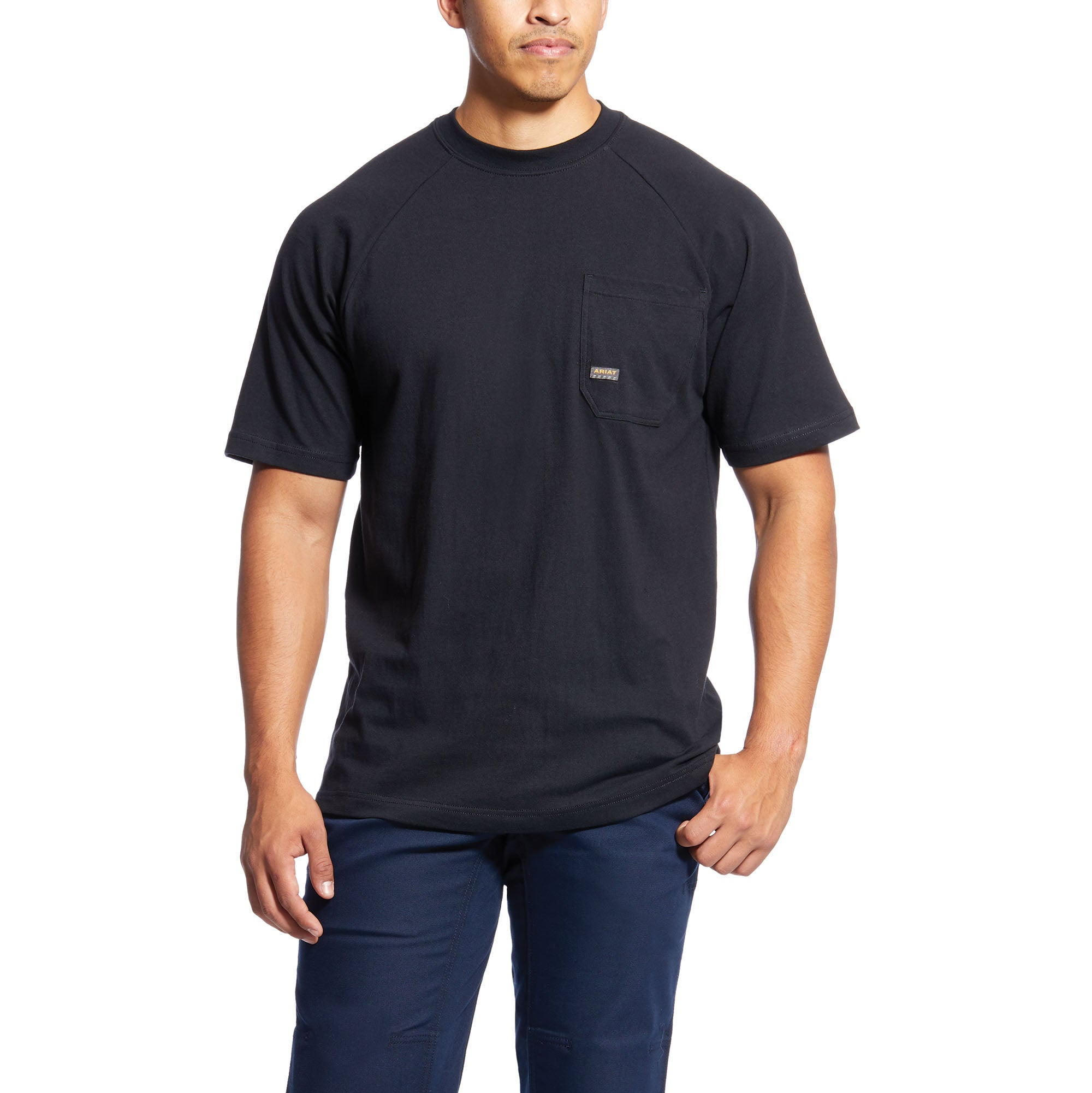 'Ariat' Men's Rebar™ CottonStrong Crew - Black