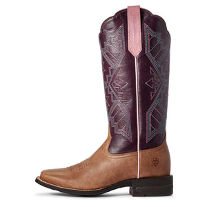 "'Ariat' Women's 13"" Jackpot Western Square Toe - Tan / Purple"