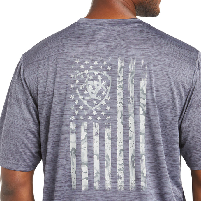 'Ariat' Men's Charger Graphic Flag T-Shirt - Graystone