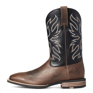 "'Ariat' Men's 11"" Everlite Vapor Western Square Toe - Ranch Brown / Black Deertan"
