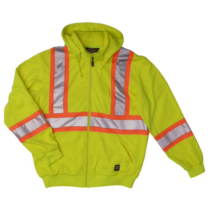 'Tough Duck' Hi-Vis Unlined Safety Hoodie - Green