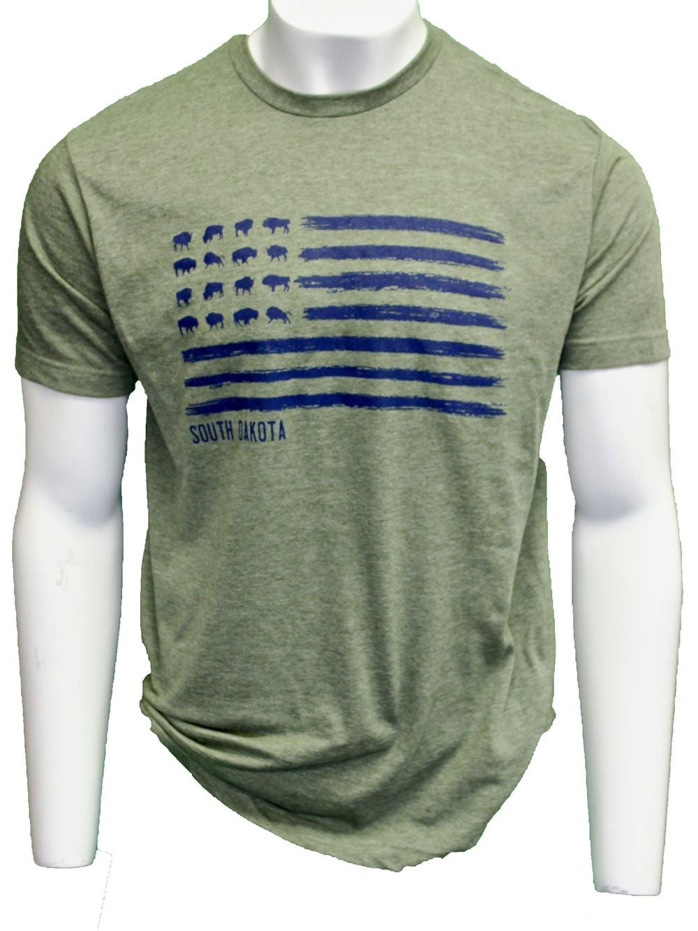 'ScratchPad Tees' Unisex Bison Flag SD Tee - Military Green