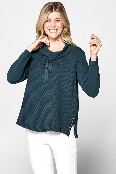 'Focus' Women's Drawstring Cowl Neck Tunic - Dark Teal