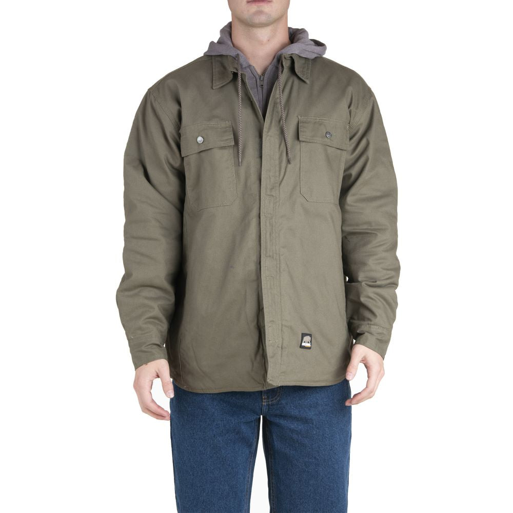 'Berne' Men's Throttle Hooded Shirt Jacket - Sage