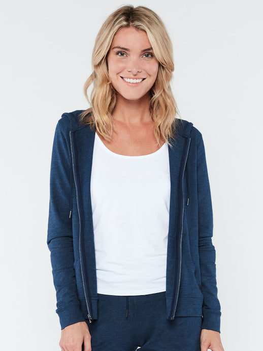 'TASC' Women's Studio Bamboo Full-Zip Hoodie - Classic Navy Heather