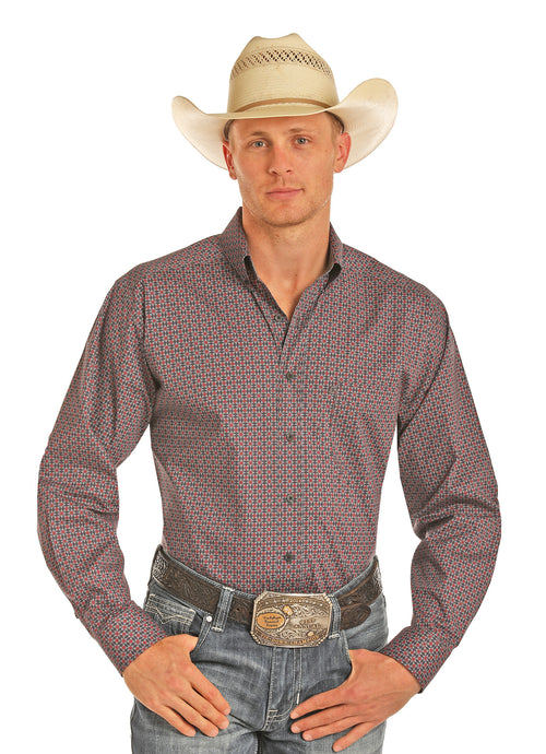 'Panhandle Slim' Tuf Cooper Poplin Shirt - Red / Blue