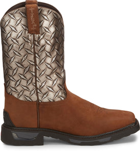 "'Tony Lama' Men's 11"" Diboll Diamond Plate Western Square Toe - Brown"
