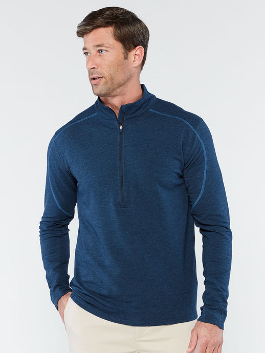'TASC' Men's Tahoe II Bamboo Fleece 1/4 Zip - Classic Navy Heather / Riverside
