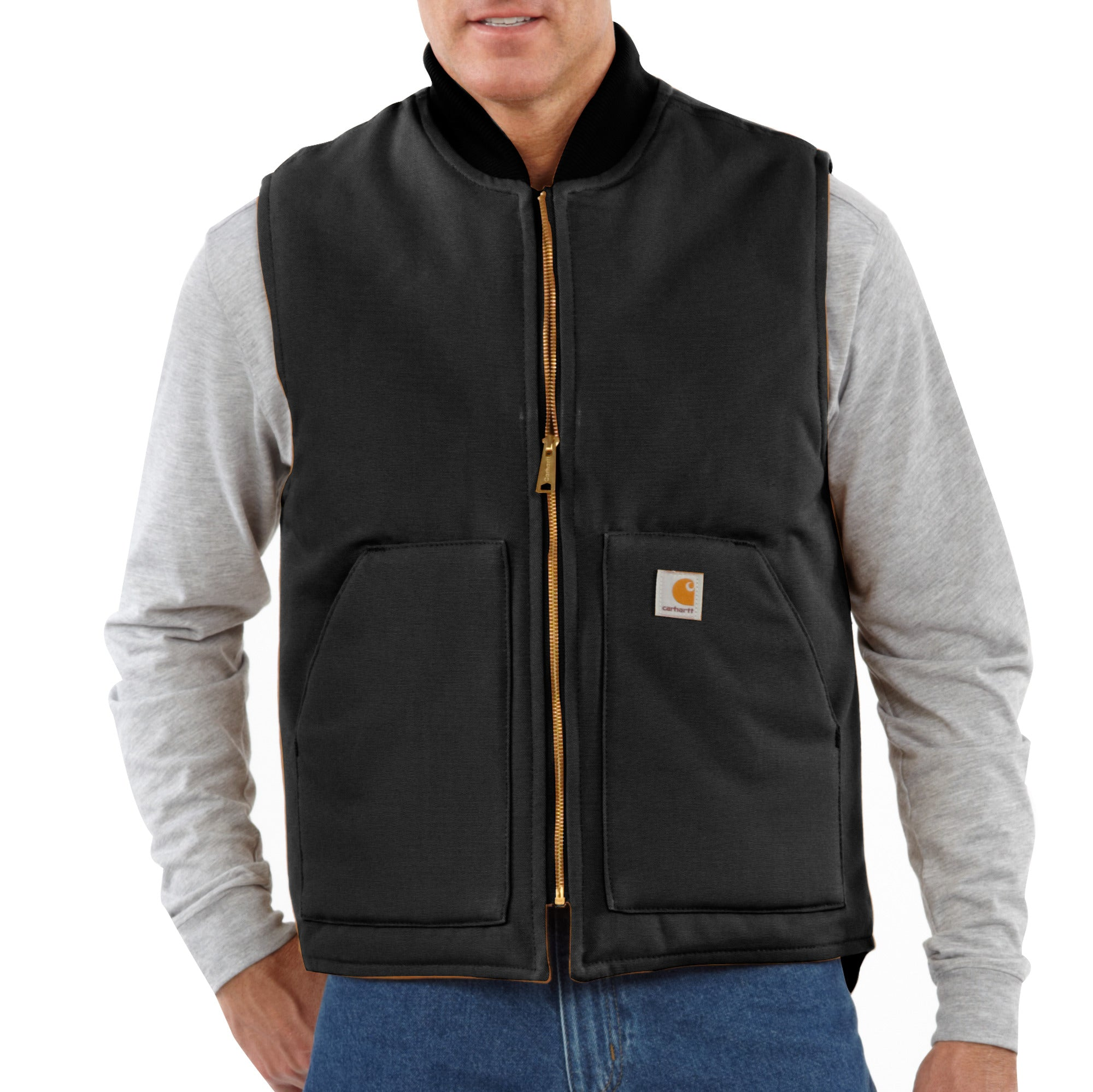 'Carhartt' Men's Duck Vest Arctic Quilt Lined - Black