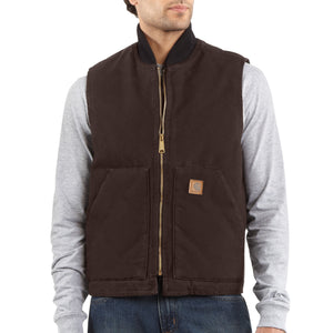 'Carhartt' Men's Sandstone Arctic Quilt Lined Vest - Dark Brown