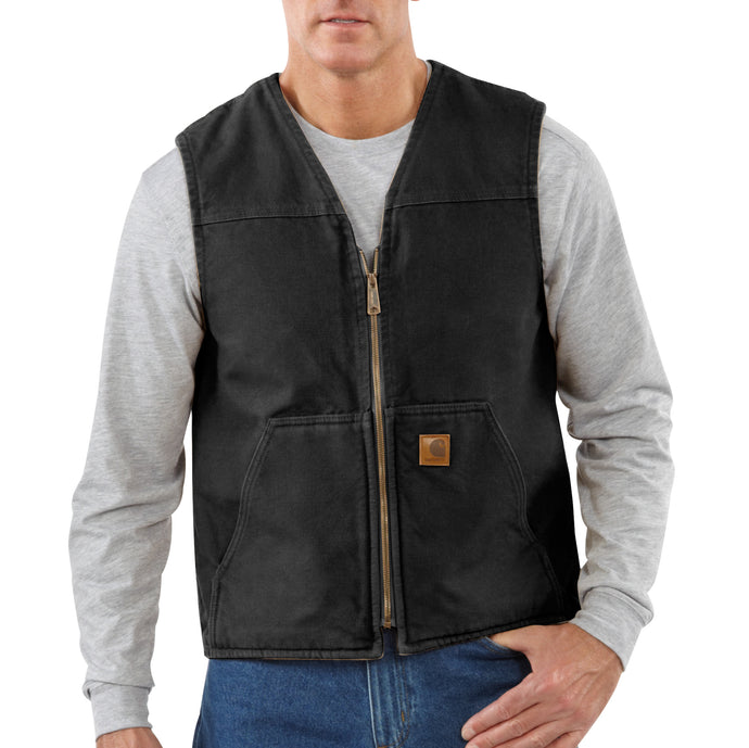 'Carhartt' Men's Sandstone Rugged Sherpa Lined Vest - Black
