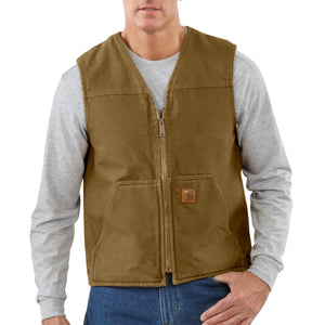 'Carhartt' Men's Sandstone Rugged Sherpa Lined Vest - Frontier Brown