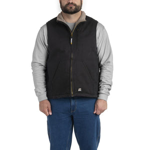 'Berne' Men's Canyon Sherpa Lined Vest - Black