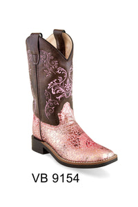 "'Old West' Children's 8.5"" Girls' Pink Shimmer Western - Pink / Brown"