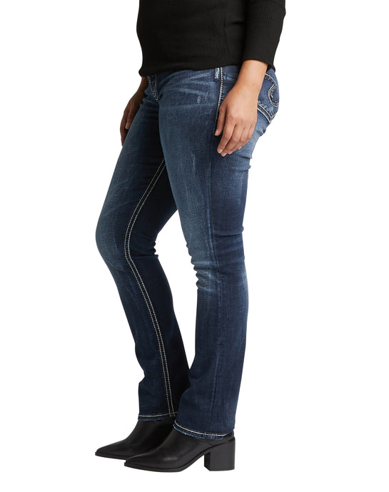 'Silver Jeans' Women's Suki Mid Rise Straight Leg - Dark Indigo (Ext. Sizes)