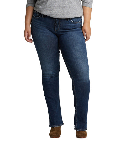 'Silver-Suki' W93616SDK424 - Mid Rise Slim Bootcut Jeans - Dark Indigo (Ext. Sizes)