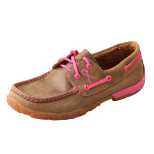 "Women's ""Tough Enough To Wear Pink"" Driving Moccasin - Tan / Pink"