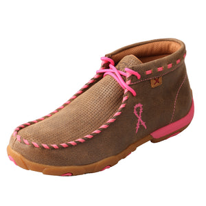 """Tough Enough To Wear Pink"" Driving Moccasin - Tan / Bomber / Pink"