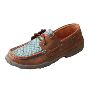 Driving Moccasin - Blue Fish Scale / Brown