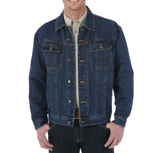 'Wrangler' Men's Flannel Lined Denim Jacket - Antique Navy