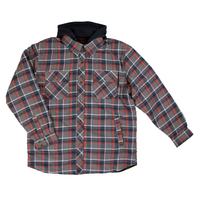 'Tough Duck' Men's Quilt Lined Flannel Jacket - Navy / Red / Grey