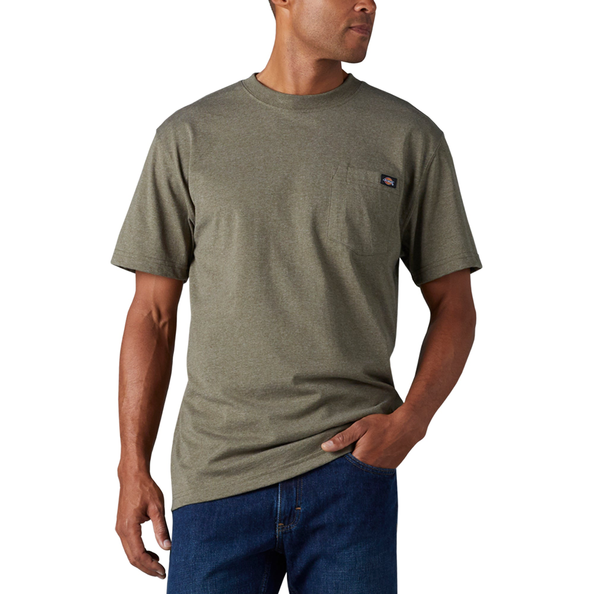 'Dickies' Heavyweight Crew T-Shirt - Military Green Heather