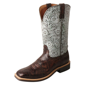 "'Twisted X' Women's 11"" Top Hand Western Square Toe - Brown / Turquoise Print"