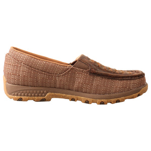 'Twisted X' Women's Cellstretch Slip On Driving Moc - Woven Brown / Coffee