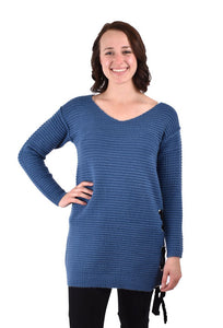 'True Blue' XG1871B - Long Ribbed Sweater - Blue