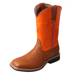 "'Twisted X' Youth 9"" Western Square Toe - Tan / Orange"
